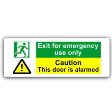 Exit For Emergency Use Only-WITH IMAGE-Aluminium Metal Sign-Door,Notice,Caution,Security,Alarm,Fire